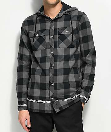 Lurking Class By Sketchy Tank Wired Hooded Grey & Black Flannel Shirt