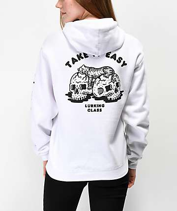 Lurking Class by Sketchy Tank Catnap Take It Easy White Hoodie