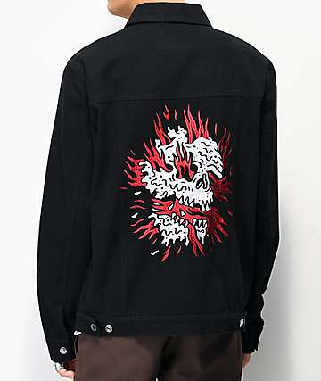 Lurking Class by Sketchy Tank Flames Black Denim Jacket