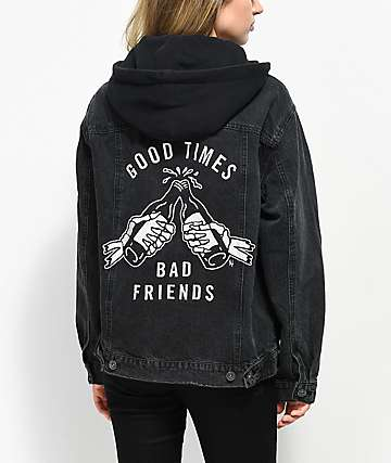 Lurking Class by Sketchy Tank Good Times Bad Friends Trucker Black Jacket