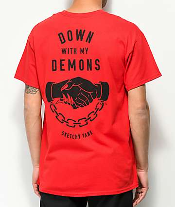 Lurking Class by Sketchy Tank Lurking Class Demons Red T-Shirt