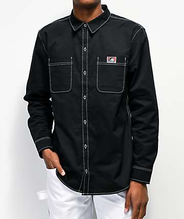 Lurking Class by Sketchy Tank Lurkwear Black Long Sleeve Button Up Shirt