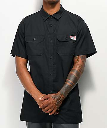 Lurking Class by Sketchy Tank Lurkwear Black Short Sleeve Button Up Shirt