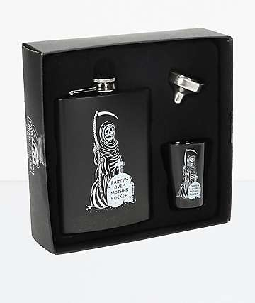 Lurking Class by Sketchy Tank Party's Over Black Flask Set