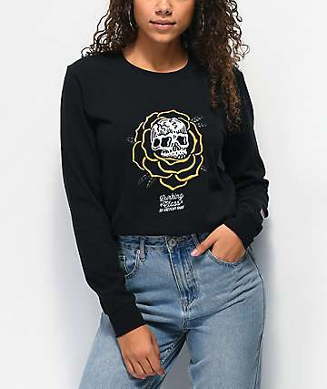 Lurking Class by Sketchy Tank Rose Thorn Black Long Sleeve T-Shirt