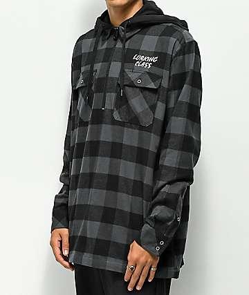 Lurking Class by Sketchy Tank camisa negra de franela con cremallera y capucha