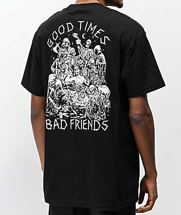 ee0599e5 Lurking Class x Stikker Good Times Bad Friends Black T-Shirt