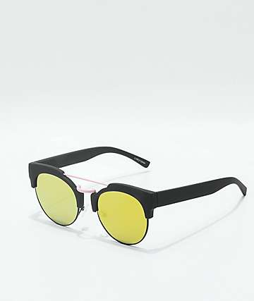 Lyric Black, Pink & Green Reflective Flat Sunglasses