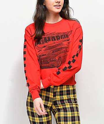 Mad Engine Charger Red Crop Long Sleeve T-Shirt