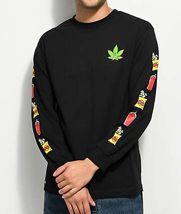 Made In Paradise Munchies Long Sleeve Black T-Shirt