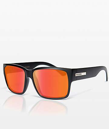 Madson Classico Matte Black & Red Polarized Sunglasses