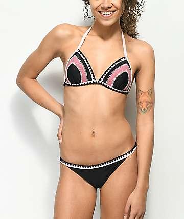 Malibu Blanket Stitch braguitas de bikini en rosa y negro
