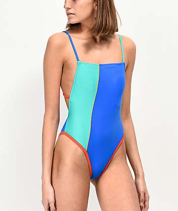 Malibu Color Block High Leg One Piece Swimsuit