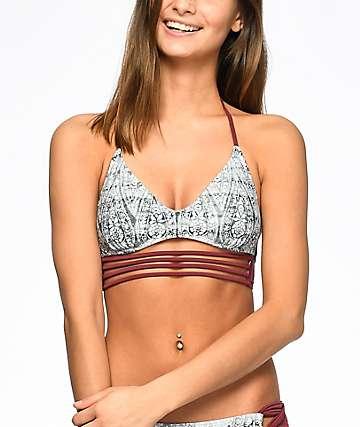 Malibu Gypsy top de bikini bralette en gris y color vino