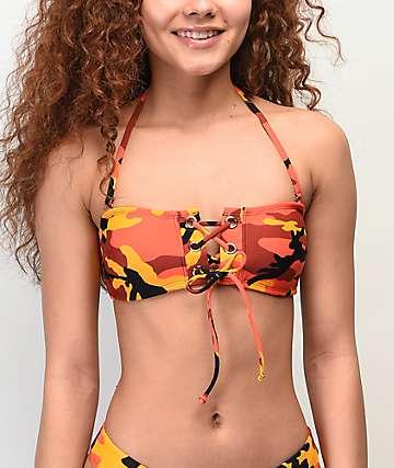 Malibu Pop Orange Camo Bandeau Lace Bikini Top
