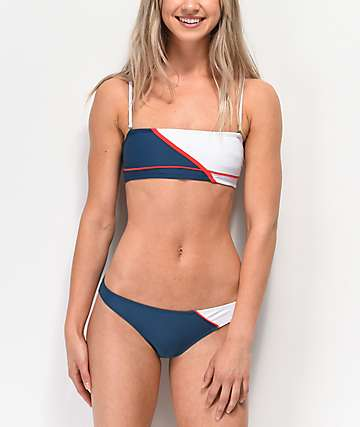 Malibu Red, White & Blue Colorblocked High Leg Bikini Bottom