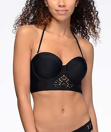 Malibu Surfs Up top de bikini moldeada láser cortada en negro