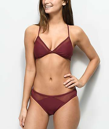 Malibu Way Out Hipster braguitas de bikini de malla en color borgoño
