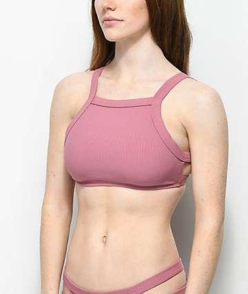 Malibu top de bikini acanalada con cuello alto en color malva