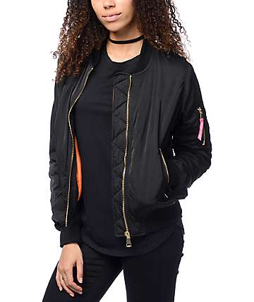 Married To The Mob Anna Black Bomber Jacket