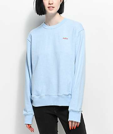 Married To The Mob Bitch Vibes Blue Crew Neck Sweatshirt