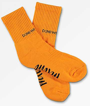 Married To The Mob Done With You Orange Socks