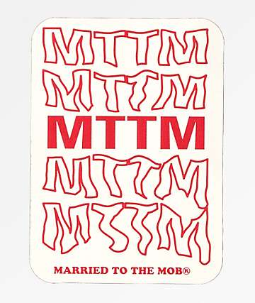 Married To The Mob Font pegatina roja y blanca