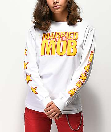 Married To The Mob Star White Long Sleeve T-Shirt