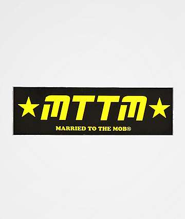 Married To The Mob pegatina negra y amarilla