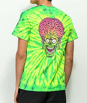 Mars Attacks x Santa Cruz Face camiseta amarilla y verde con efecto tie dye