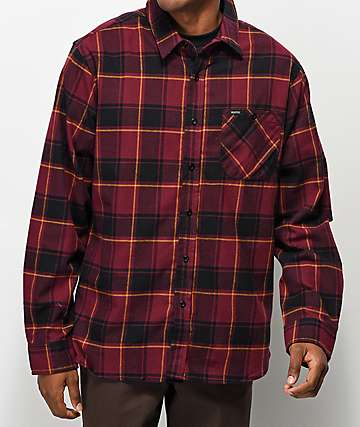 Matix Hermosa Burgundy & Gold Flannel Shirt
