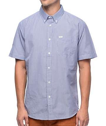 Matix Hyde camisa en azul y blanco patrón guingán tartán