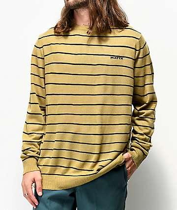 Matix Line Tan & Black Striped Sweater