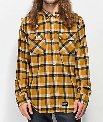 Matix Norfolk camisa de franela dorada y negra
