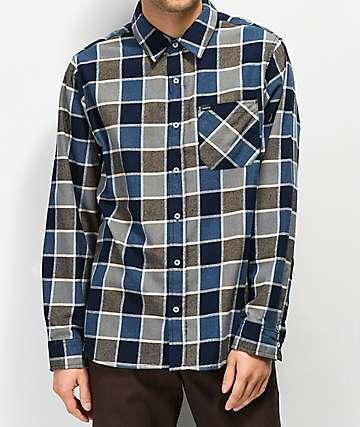 Matix Point camisa de franela azul y caqui