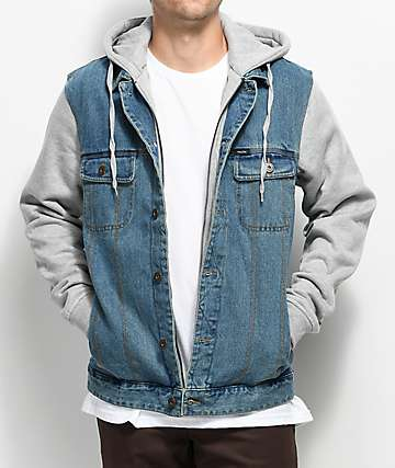 Matix Union Trucker 2Fer Light Denim & Grey Jacket