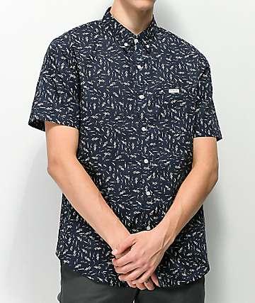 Matix Wavy camisa azul marino con estampado blanco