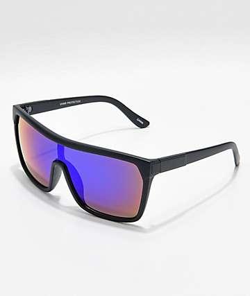 Matte Black & Blue Mirror Shield Sunglasses