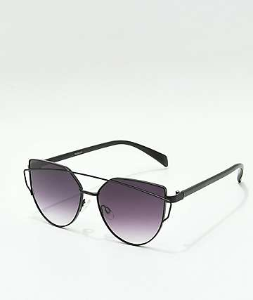 Matte Black Cateye Flat Lens Sunglasses