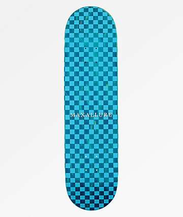 "Maxallure Lets Go Checkerboard 8.25"" Blue Skateboard Deck"