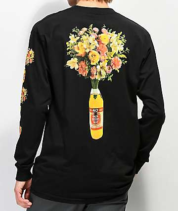 Meet Here For Beers 40 oz Of Beauty Black Long Sleeve T-Shirt