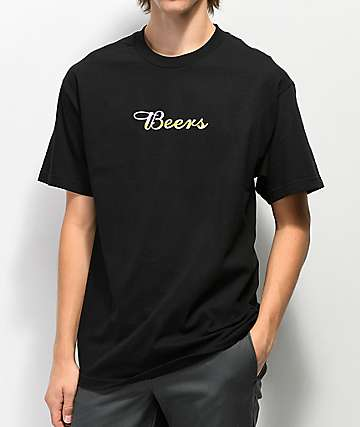 Meet Here For Beers Fast Script Black T-Shirt