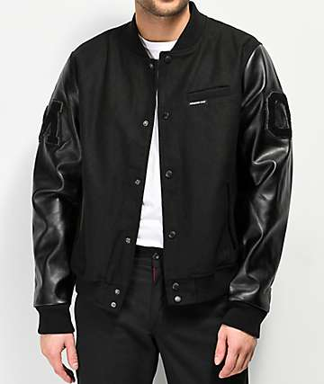 Members Only Black Wool Varsity Jacket