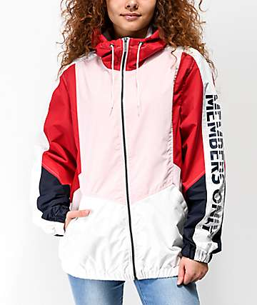 Members Only Color Block Pink & Red Windbreaker Jacket