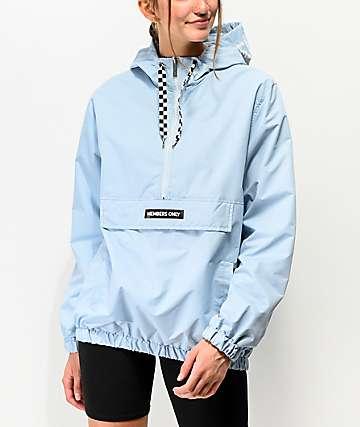 Members Only Half Zip Dusty Sky Windbreaker Jacket