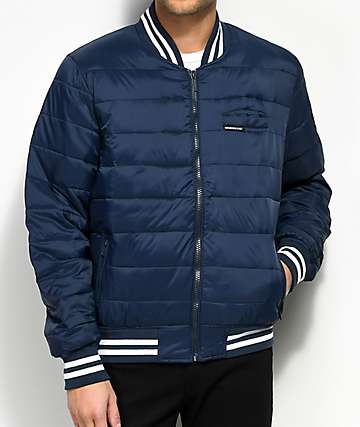 Members Only Puffer Navy Varsity Bomber Jacket