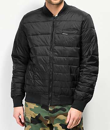 Members Only Solid Black Puffer Bomber Jacket