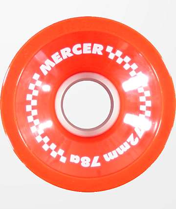 Mercer 72mm 78a Red Longboard Wheels