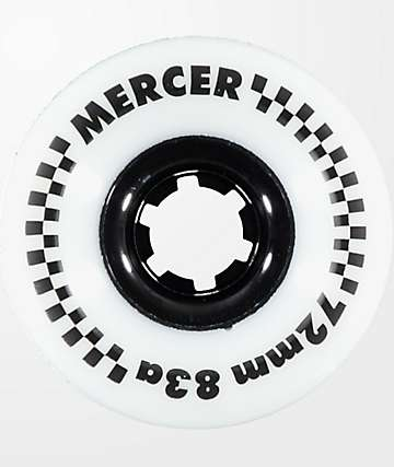 Mercer 72mm 83a White Longboard Wheels