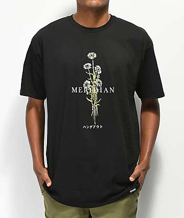 Meridian Skateboards Daisies camiseta negra
